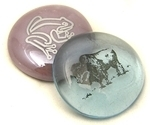 Colored Glass Imprinted Animal and Animal Tracks Stones