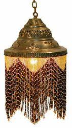 Beaded Brass Pendant Lamp