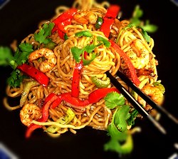 Shrimp Chow Mein with Smokey Teriyaki Sauce