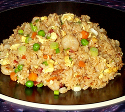 Shrimp and Bacon Fried Rice with Garlic Sesame Sauce