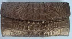 Genuine Crocodile/Alligator Leather Tri-fold Clutch Wallet/Purse BROWN
