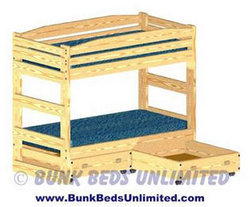Bunk bed plans cover construction of bunk bed only or bunk beds with drawers ...