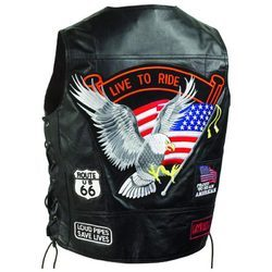 Black Solid Leather Vest With Patches