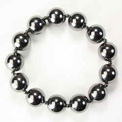 Large Gunmetal Bead Stretch Bracelet