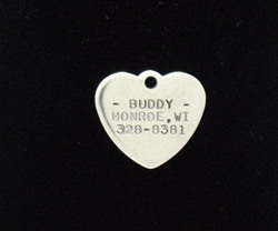 Stainless Steel Small Heart Pet Tag