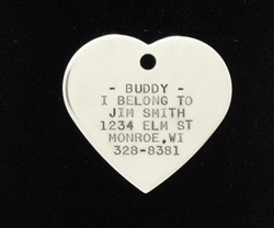 Stainless Steel Large Heart Pet Tag