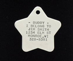 Stainless Steel Star Pet ID Tag