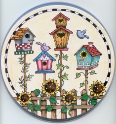 Electric Burner Cover (Four Bird Houses)