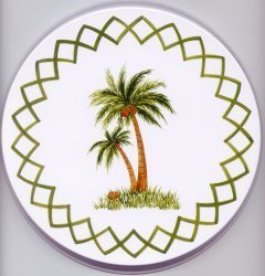 Electric Burner Cover (Palm Tree White)