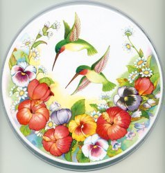 Electric Burner Cover (Two Humming Birds)