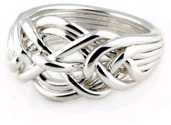 Mens 7 Band Sterling Silver Puzzle Ring