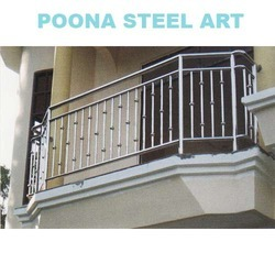 Stainless steel balcony railing from poona steel art for Balcony steel grill design