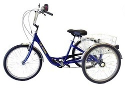 "The Deluxe adult 24"" wheel size tricycle features a sloping frame with ..."