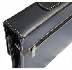 Black Embossed Pvc Double Gusset Briefcase
