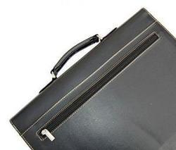 Black Embossed Pvc Double Gussetted Briefcase