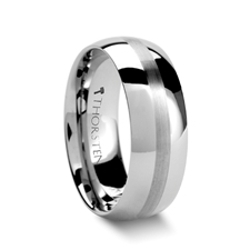 Brushed Stripe Tungsten Wedding Ring