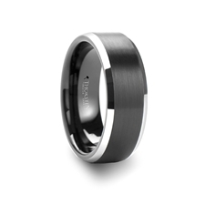 Aston Black Brushed Center Tungsten Wedding Ring