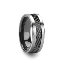 Helix Gear Teeth Pattern Black Ceramic And Tungsten Ring